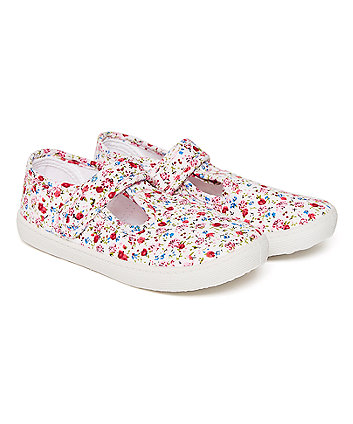 Ditsy Floral Canvas T-Bar Shoes