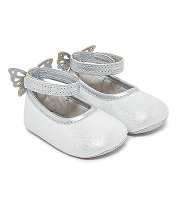 silver butterfly ballet pumps