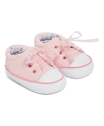 Mothercare Pink Broderie Pump Pram Shoes