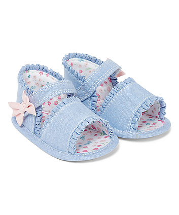 Mothercare Chambray Frill Sandals