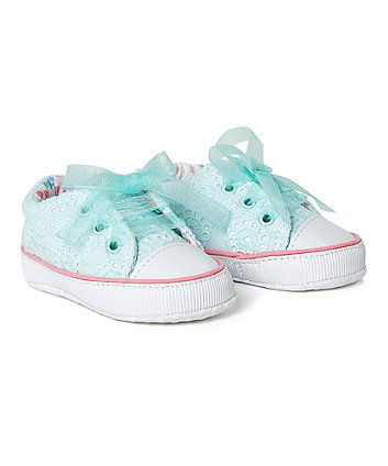 Blue Broderie Pump Pram Shoes