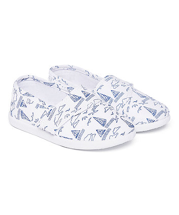 Mothercare Boat Print Canvas Pump
