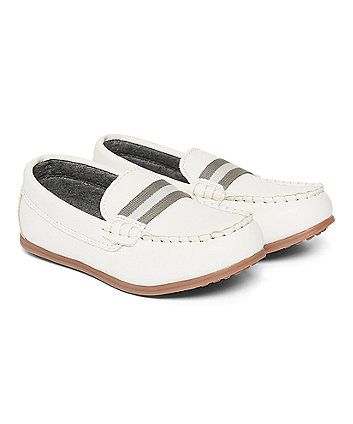 White Loafers With Grey Stripe