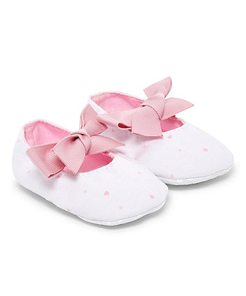 White Bow Pram Shoes