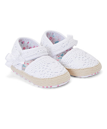 Mothercare White Broderie Espadrilles