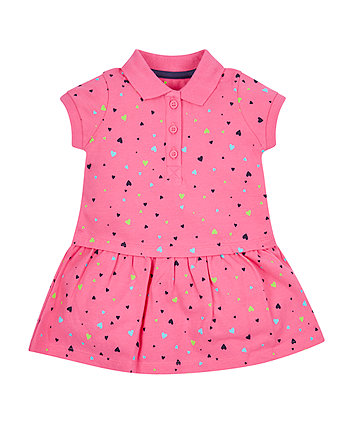Mothercare Pink Heart Polo Dress