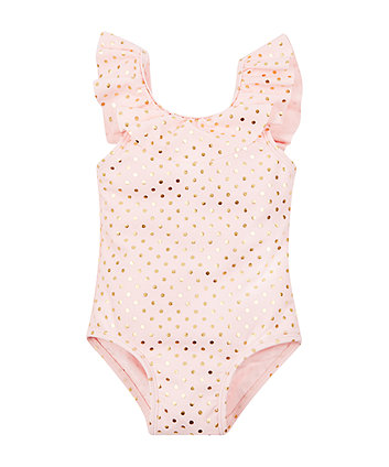 Mothercare Pink And Gold Polka Dot Swimsuit