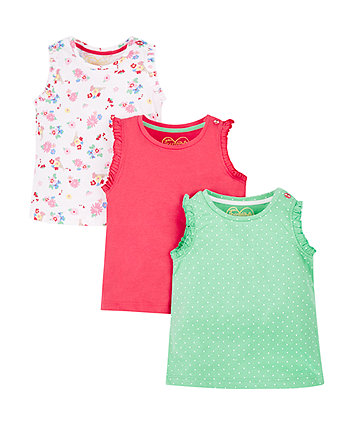 Mothercare Floral And Spot Frill Vests - 3 Pack