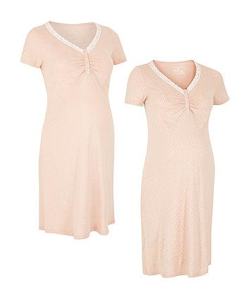 Mocha Spot And Plain Nursing Nightdresses - 2 Pack