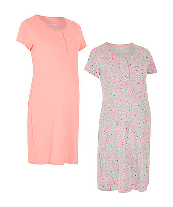 Coral And Floral Nursing Nightdresses - 2 Pack