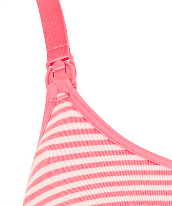 Mothercare Coral Stripe And Grey Spot Nursing Sleep Bras - 2 Pack