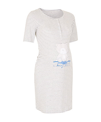 Striped Beary Cute Nursing Nightdress