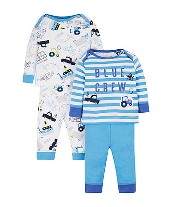 Mothercare Blue Crew Pyjamas - 2 Pack