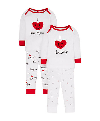 Mothercare I Love Mummy And Daddy Pyjamas - 2 Pack