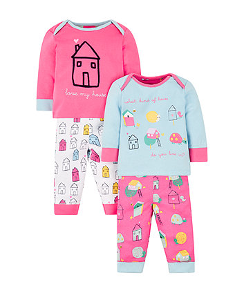 animal houses pyjamas - 2 pack