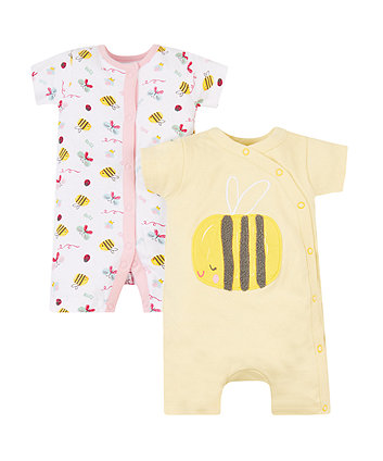 Mothercare Little Bee Rompers - 2 Pack