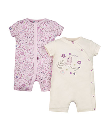 Mothercare Floral Bird Rompers - 2 Pack