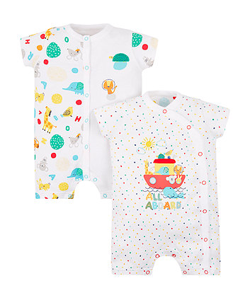 all aboard rompers - 2 pack