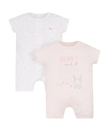 Mothercare My First Little Cutie Rompers - 2 Pack