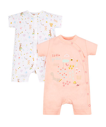 Mothercare Little Garden Rompers - 2 Pack