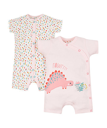 spotted dinosaur rompers - 2 pack