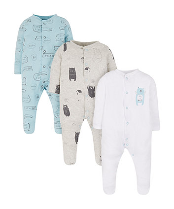 Little Bear Sleepsuits - 3 Pack