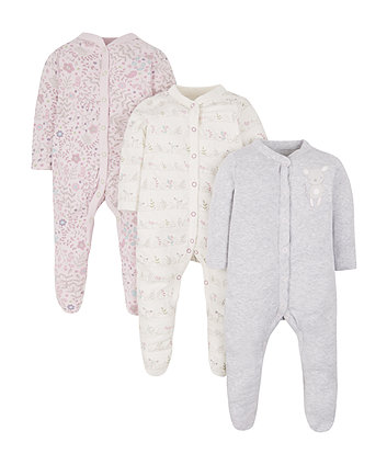 Mothercare Little Bird Sleepsuits - 3 Pack