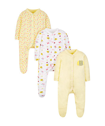 little bee sleepsuits - 3 pack