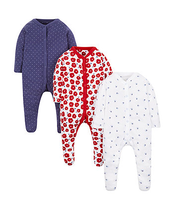 floral and spotty sleepsuits - 3 pack