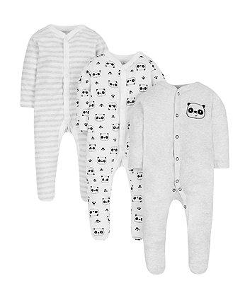 panda sleepsuits - 3 pack