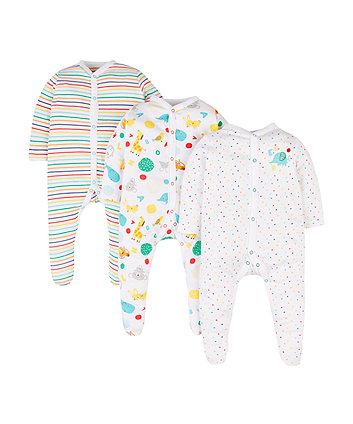 Mothercare Animal Sleepsuits - 3 Pack