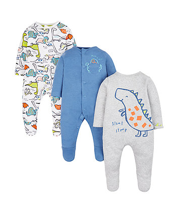 Mothercare Stomping Dinosaur Sleepsuits - 3 Pack