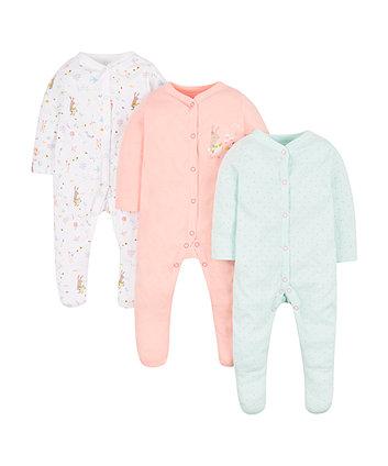 Mothercare Little Garden Sleepsuits - 3 Pack