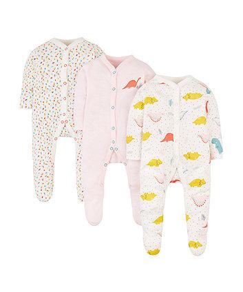 Mothercare Rawasaurus Sleepsuits - 3 Pack