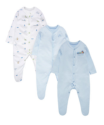Blue Toy Box Sleepsuits - 3 Pack
