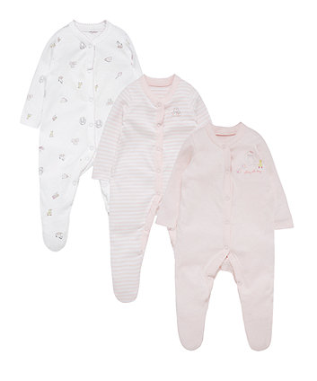 Mothercare Pink Toy Box Sleepsuits - 3 Pack