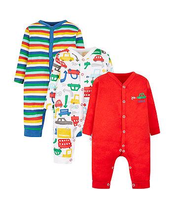 vroom vroom sleepsuits - 3 pack