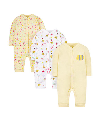 Mothercare Little Bee Sleepsuits - 3 Pack