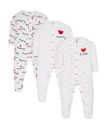 Mothercare I Love Mummy And Daddy Sleepsuits - 3 Pack