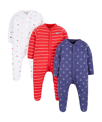 under the sea sleepsuits - 3 pack
