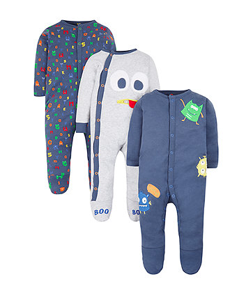 Mothercare Monster Sleepsuits - 3 Pack