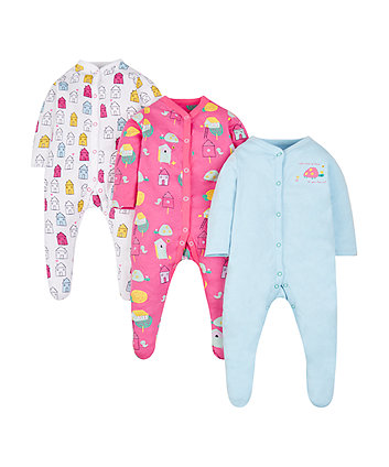 Mothercare Cosy House Sleepsuits - 3 Pack