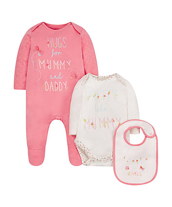 Mothercare Floral Mummy And Daddy 3-Piece Set