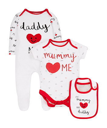 Mothercare Love Mummy And Daddy Three Piece Set