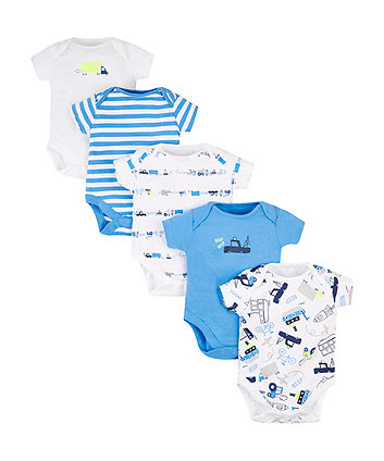 Blue Vehicle Bodysuits - 5 Pack