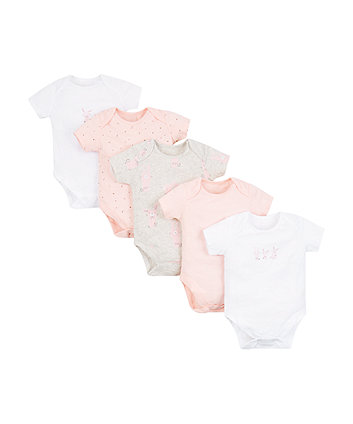 Pink, White And Grey Bunny Bodysuits - 5 Pack
