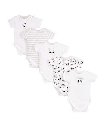 sleepy panda bodysuits - 5 pack