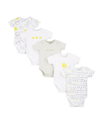 Happy Faces Bodysuits - 5 Pack