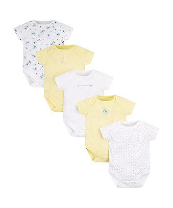 Mothercare Lemon Bunny Bodysuits - 5 Pack