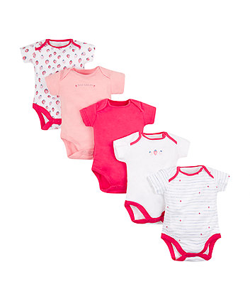 Strawberry Bodysuits - 5 Pack